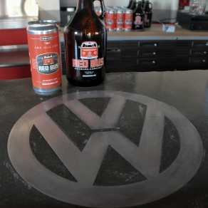 The VW logo emblazoned into the bar top
